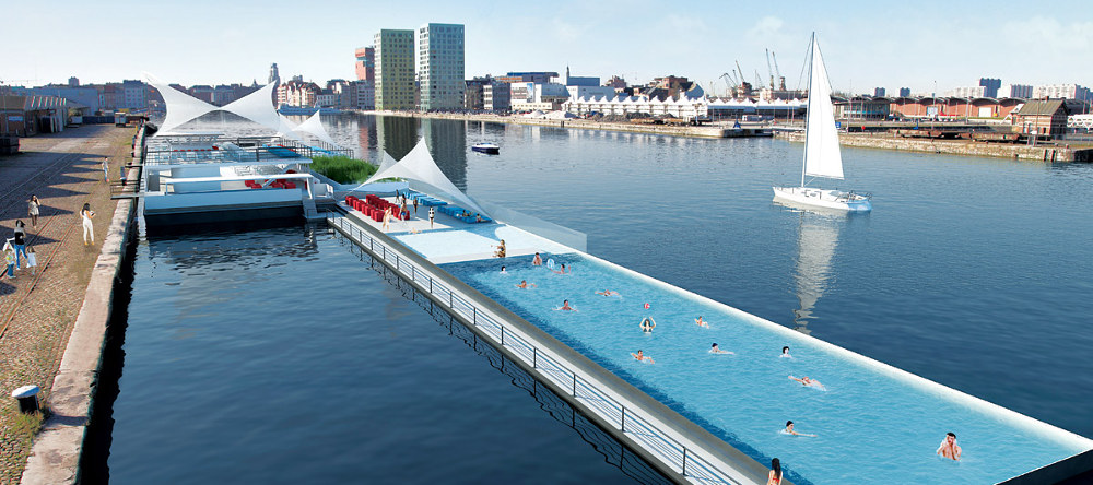 Badboot: a swimming pool on a boat. Amazing Antwerp.