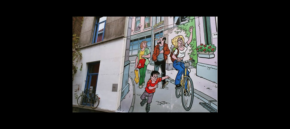 Outdoor murals painted by various comic artists are scattered around the city.